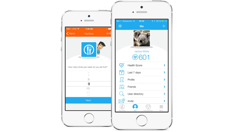 Screenshot of the dacadoo health platform app