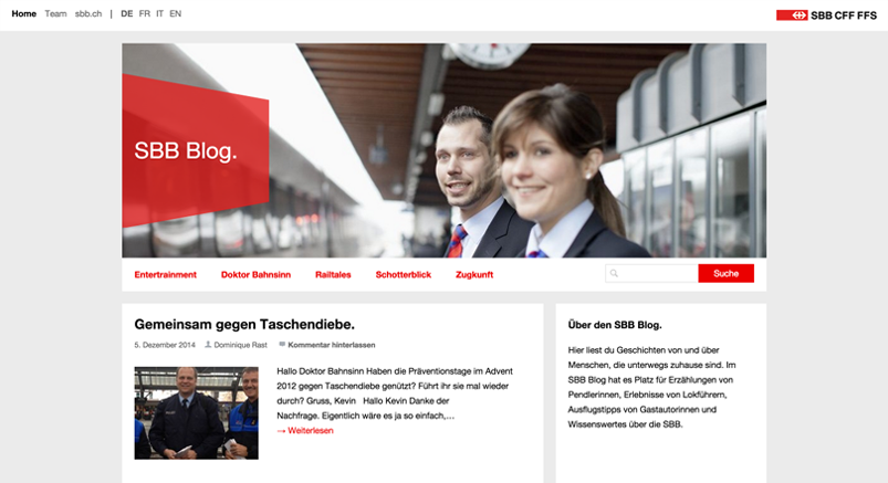 Screenshot of the SBB Blog