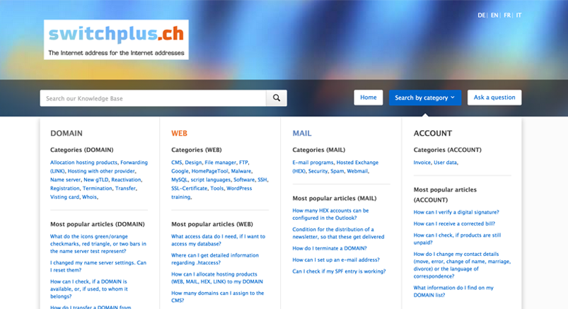 Screenshot of the Switchie Knowledge Base